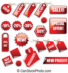 Vector set of sales tags and stickers in red