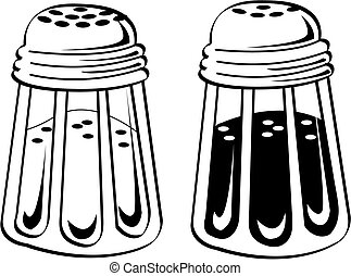 Salt and pepper shaker clip art in black and white, retro or vintage 1950s line art style.