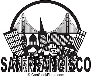 San Francisco California Abstract Black and White Downtown City Skyline with Golden Gate Bridge and Cable Car Isolated on White Background Illustration