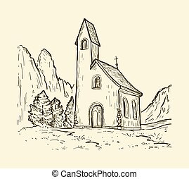 San Maurizio chapel on the Gardena Pass. Sketch hand drawn vector illustration with church on the mountain.