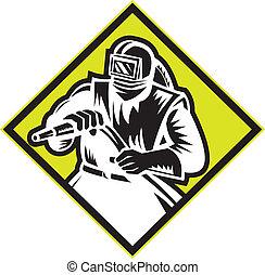 Illustration of a sandblaster worker holding sandblasting hose wearing helmet visor set inside diamond shape done in retro style.