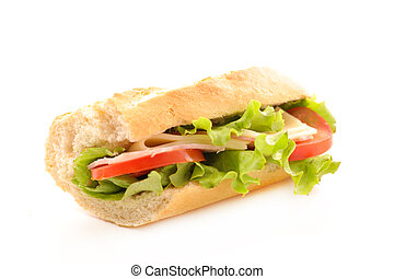 sandwich-baguette with ham, cheese and tomato
