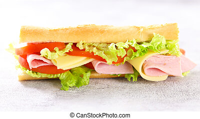sandwich- baguette with ham, cheese, lettuce and tomato