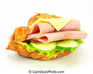 sandwich with ham, cheese on white background