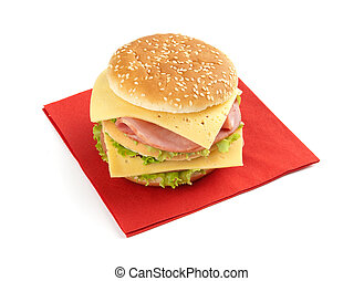 sandwich with lettuce, ham, cheese and tomato