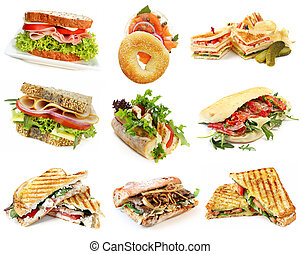 Collection of sandwiches, isolated on white.