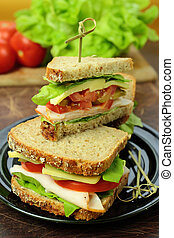 Sandwiches with fresh lettuce, cheese and ham