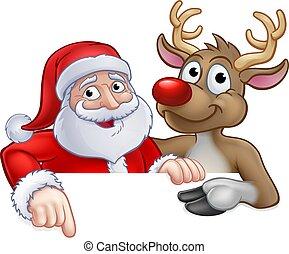 Santa and Reindeer Christmas Cartoon Character