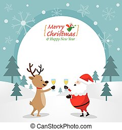 Santa Claus and Reindeer Drinking Champagne, Frame