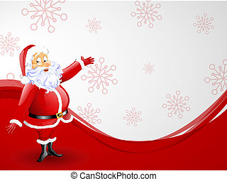 vector illustration of a funny santa claus on a christmas background
