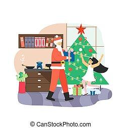 Santa Claus giving gift box to happy girl kid, flat vector illustration. New Year night. Christmas holidays celebration.