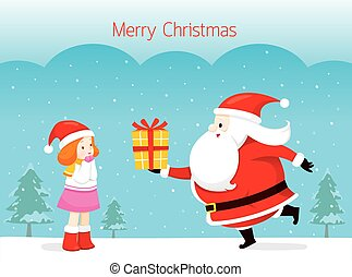 Santa Claus Giving Gift To Little Girl