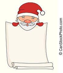 Santa claus with blank sheet