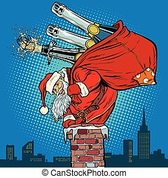 Santa Claus with champagne climbs the chimney