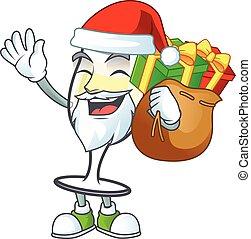 Santa Claus with gift bag champagne glass Cartoon design