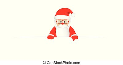 santa claus with glasses points his finger at a white banner
