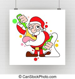 Santa Dancing and Drinking Vector Cartoon - Drunk Claus holding a champagne bottle.