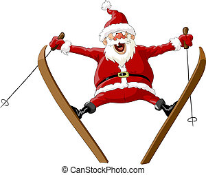 Santa Claus on skis in the jump, vector