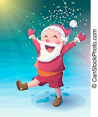 Santa with confetti