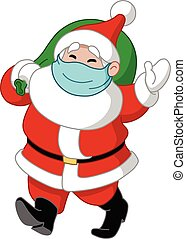 Santa with medical mask and gift sack