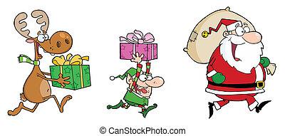 Santa with reindeer and elf