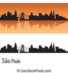 Sao Paulo skyline in orange background in editable vector file