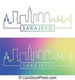Sarajevo skyline. Colorful linear style.