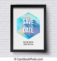Save the date for personal holiday. Wedding invitation. Black fr