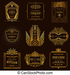 Save the Date - Set of Wedding Invitation Cards - Art Deco Vintage Style - in vector