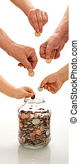 Saving concept with hands of different generations putting coins in a jar - vertical banner