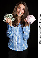 Saving Money Woman