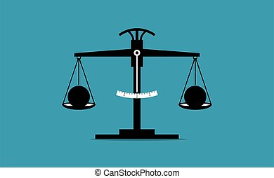 Vector illustration concept of same, balanced, unbiased, and justice.