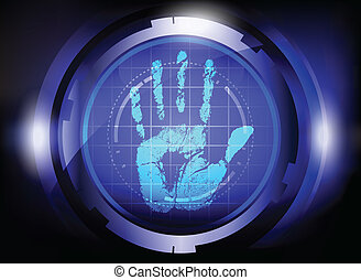 scan hand print technology on blue background.
