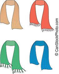 Vector illustration of winter knitted scarfs