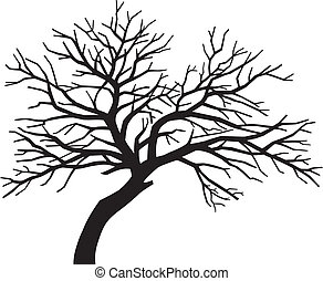 scary bare black tree silhouette (tree without leaves, tree silhouette)