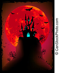 Scary halloween vector with magical abbey. EPS 8 vector file included