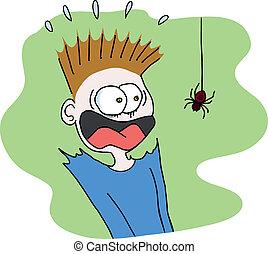boy scared of a spider