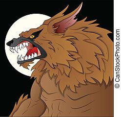 Creative Conceptual Design Art of Classic Werewolf Vector Illustration on Full Moon Night