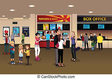 A vector illustration of scene in the movie theater lobby