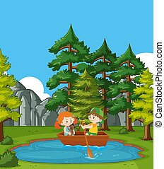 Scene with boy and girl rowing boat in the park