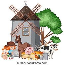 Scene with farmgirl feeding many animals on the farm