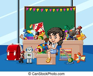 Scene with girl and many toys in the room