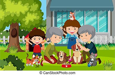 Scene with grandparents and children in the yard