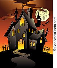 Scene with Halloween mansion 1 - vector illustration.