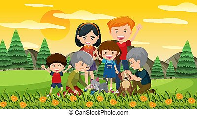 Scene with happy family in the park