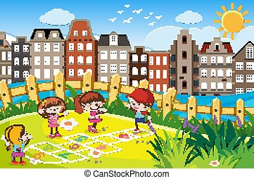 Scene with many children playing in the park