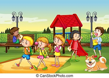 Scene with many children playing in the playground