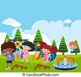 Scene with many kids playing in the park