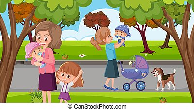 Scene with moms and kids in the park
