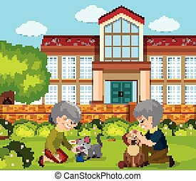 Scene with old people and pets in the park